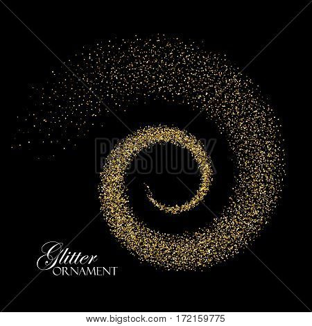 Glowing trail of golden confetti particles. Glittering swirl trail. Spiral stream of sparkling particles. Decoration confetti element applicable for poster, flyer, brochure, cover, cards design