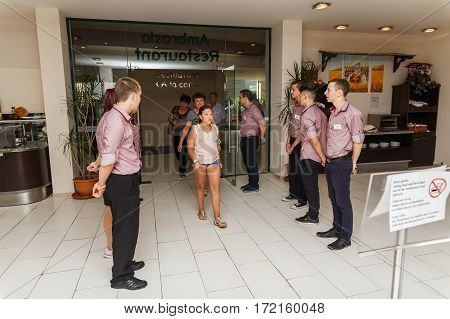 NESSEBAR BULGARIA - AUG 26: A group shot of the staff of the restaurant greeted visitors in hotel Marvel Nessebar Bulgaria at August 26 2016