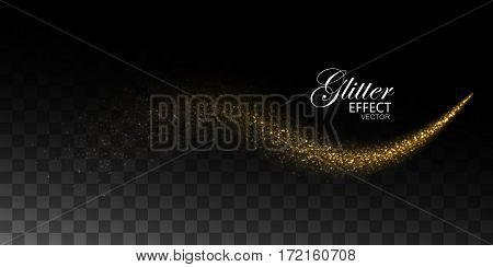 Glowing stream of sparkles. Abstract vector illustration of sparkling glitter stream isolated on checkered transparent background. Light glowing star burst effect for design