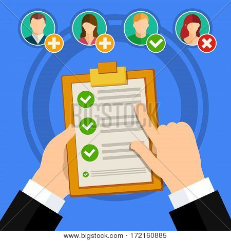 Flat design vector business illustration concept Candidate qualification job interview and check list.