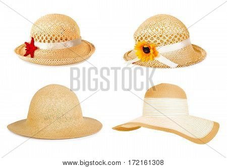 Set The Summer Straw Hat Isolated On Background