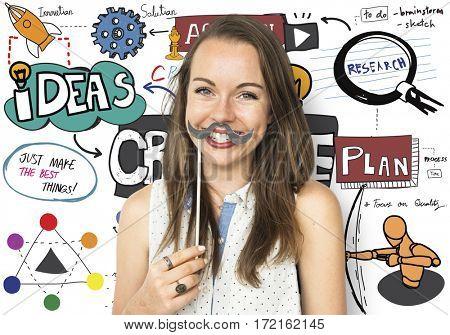 Woman Holding Moustache Social Media
