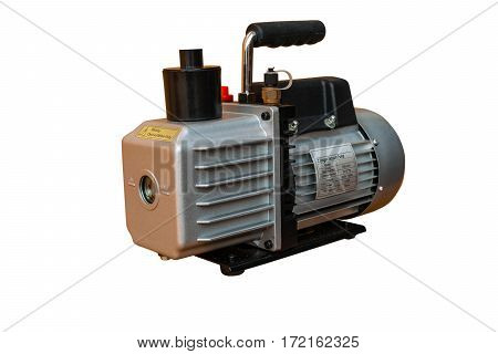 Vacuum pump (oil-lubricate rotary vane) isolated on white background