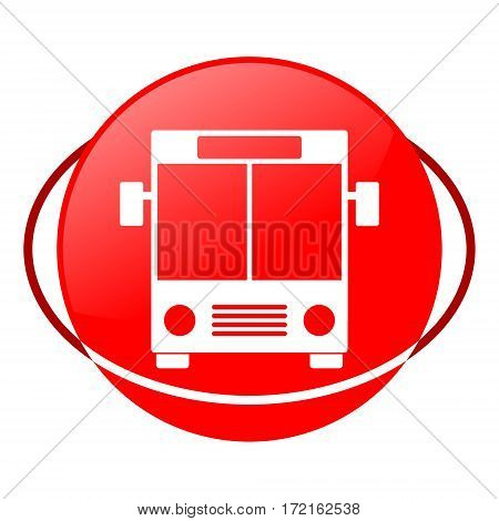 Red icon, bus vector illustration on white background
