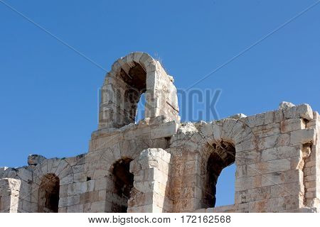 Arcade of Odeon of Herodes Atticus, theater at the Acropolis in Athens, Greece