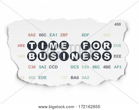 Time concept: Painted black text Time for Business on Torn Paper background with  Hexadecimal Code
