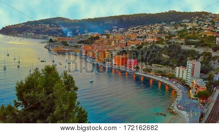 Panoramic view of the French Riviera near the town of Villefranche-sur-Mer Menton Monaco (Monte Carlo) French Riviera France