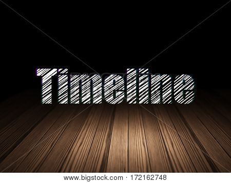 Time concept: Glowing text Timeline in grunge dark room with Wooden Floor, black background