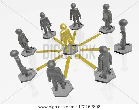 Yellow and grey mans with arrows on white background 3D illustration.