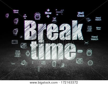Time concept: Glowing text Break Time,  Hand Drawing Time Icons in grunge dark room with Dirty Floor, black background