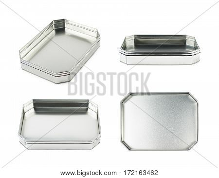 Octagonal box made of brushed metal sheet, isolated over the white background, set of four different foreshortenings