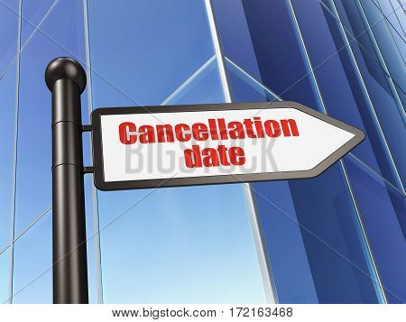 Time concept: sign Cancellation Date on Building background, 3D rendering