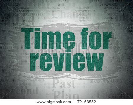 Time concept: Painted green text Time for Review on Digital Data Paper background with   Tag Cloud