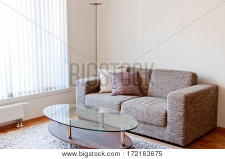 Modern minimalist living-room with beige furniture close up
