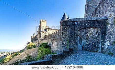 Cité de Carcassonne. Entrance to the Cité de Carcassonne with its famous towers and city walls.