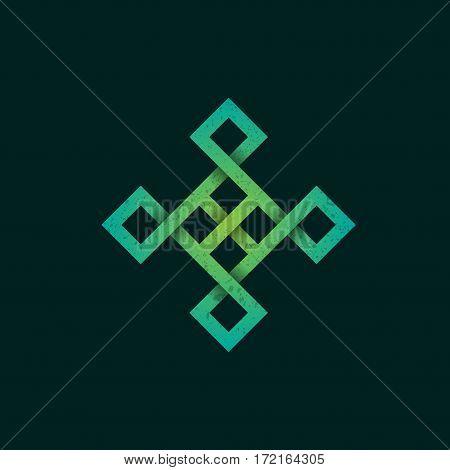 Celtic square figure isolated on dark background
