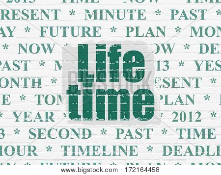 Time concept: Painted green text Life Time on White Brick wall background with  Tag Cloud