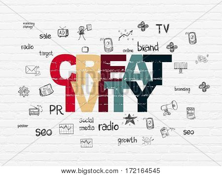 Advertising concept: Painted multicolor text Creativity on White Brick wall background with  Hand Drawn Marketing Icons