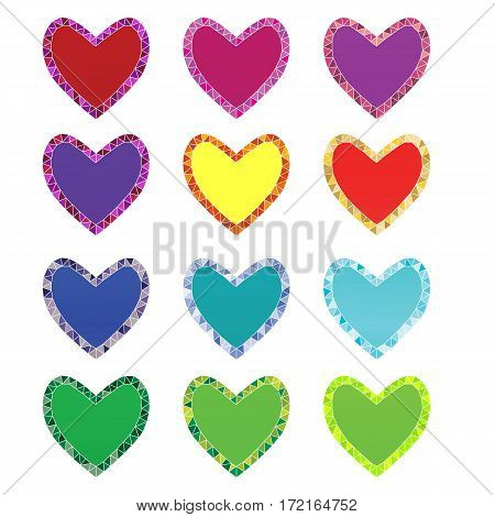 colorful isolated decorative hearts with mosaic outline on white background. vector illustration.