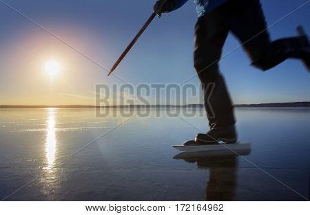 Man skating  in sweden at sunset