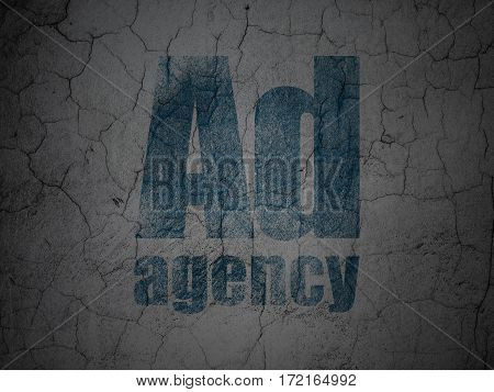 Marketing concept: Blue Ad Agency on grunge textured concrete wall background
