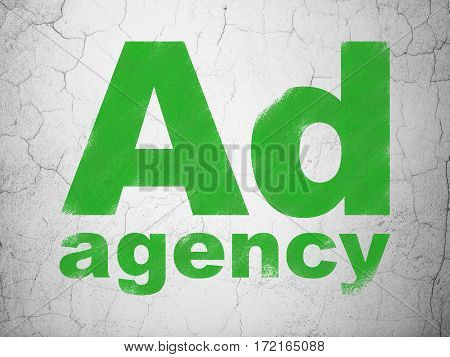Advertising concept: Green Ad Agency on textured concrete wall background
