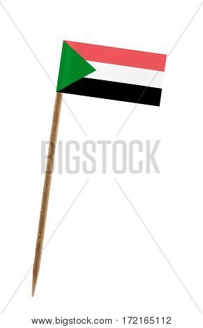 Tooth pick wit a small paper flag of Sudan