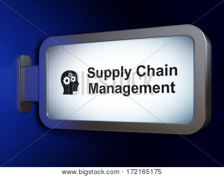 Advertising concept: Supply Chain Management and Head With Gears on advertising billboard background, 3D rendering