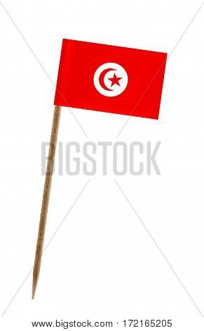 Tooth pick wit a small paper flag of Tunisia