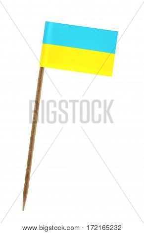 Tooth pick wit a small paper flag of Ukraine