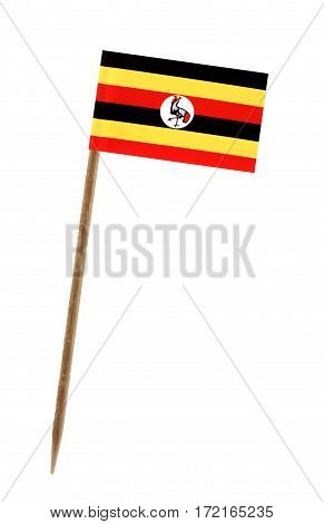 Tooth pick wit a small paper flag of Uganda