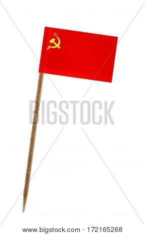 Tooth pick wit a small paper flag of USSR