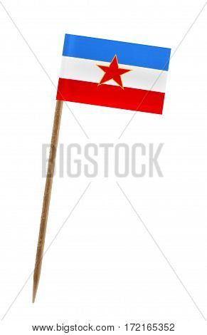 Tooth pick wit a small paper flag of Yugoslavia