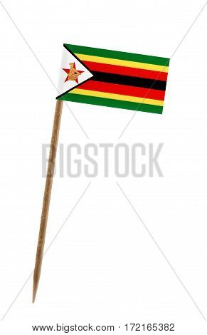 Tooth pick wit a small paper flag of Zimbabwe