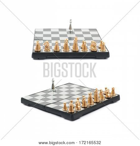 Chess board with the single silver king against full set of golden figures, composition isolated over the white background, set of two different foreshortenings