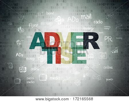 Advertising concept: Painted multicolor text Advertise on Digital Data Paper background with  Hand Drawn Marketing Icons