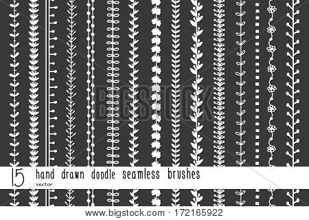 15 Hand Drawn Doodle Seamless Brushes
