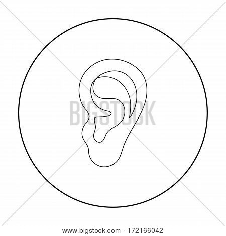 Ear icon in outline style isolated on white background. Part of body symbol vector illustration.