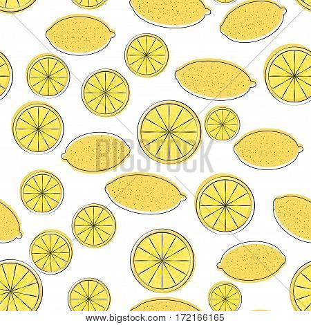seamless pattern of yellow cartoon lemon, lemon abstract background