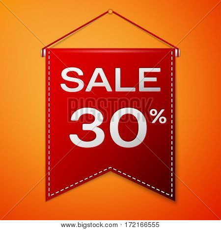 Red pennant with inscription sale thirty percent Discounts over a orange background. Sale concept for shops store market, web and other commerce. Vector illustration.