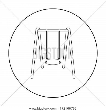 Swing seat icon in outline style isolated on white background. Park symbol vector illustration.