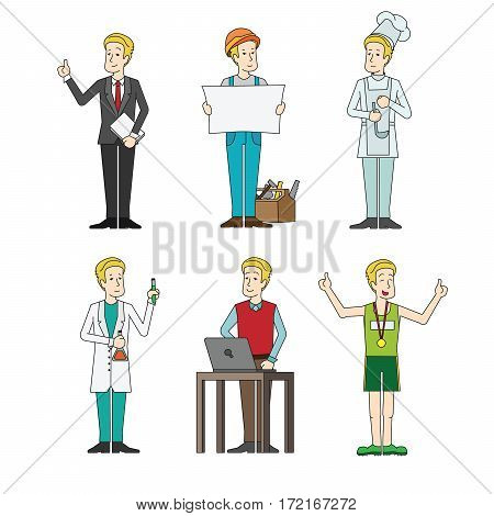 Set of people professionals occupation Vector illustration