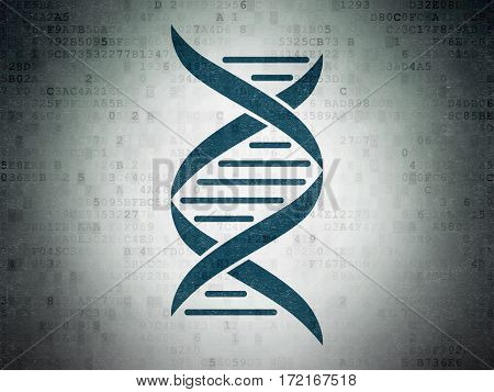 Health concept: Painted blue DNA icon on Digital Data Paper background