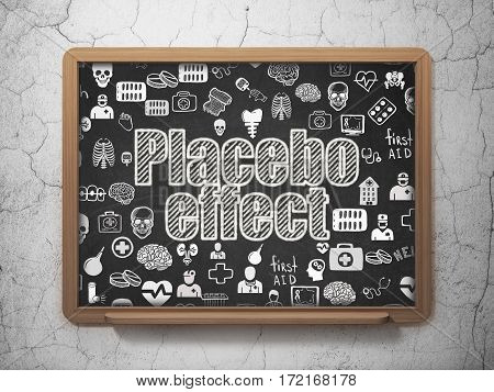 Medicine concept: Chalk White text Placebo Effect on School board background with  Hand Drawn Medicine Icons, 3D Rendering