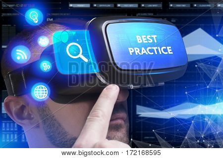 Business, Technology, Internet And Network Concept. Young Businessman Working In Virtual Reality Gla