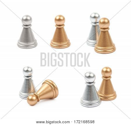 Two chess pawns, silver and golden, isolated over the white background, set of four different foreshortenings