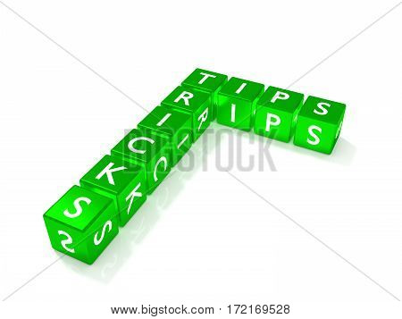 Green dice showing tips and tricks isolated on white 3D illustration