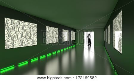 Businessman enters dark room with dollar screens and green light 3D illustration