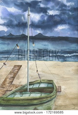 Watercolor summer print with sea landscape and old boat. Hand painted stormy sky with clouds, sea, sand coast, shallop. Artist card for design