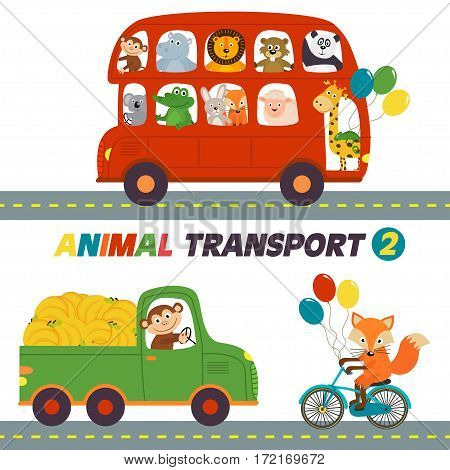 set of isolated transports with animals part 2 - vector illustration, eps
